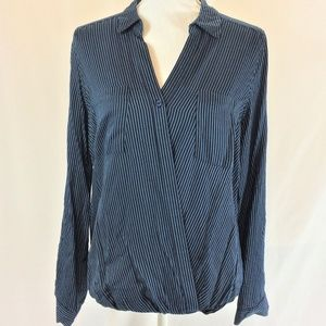 Como Vintage long sleeve faux wrap top M blue